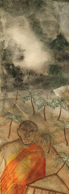 "Untitled, but formerly part of ""Dambulla"", reclining Bhuddha (next image), 2003, water color, 63 X 14.5 cm. According to the Rana brothers (Sarjan Art Gallery), Bhupen asked them to cut off a piece from his ""Dambulla"" painting.  He then worked on it more adding the lower figures."