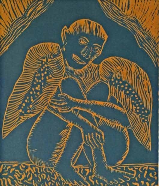 "Untitled,[""Jatayu""], woodcut, 33 x 28 cm,  This is an image of Jatayu, the old man-bird who tried to rescue Sita from Ravana in the Hindu epic Ramayana.  Ravana killed him."