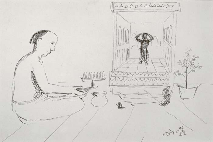 Untitled, 8/12/65, ink drawing, 13 x 20 cm, obverse