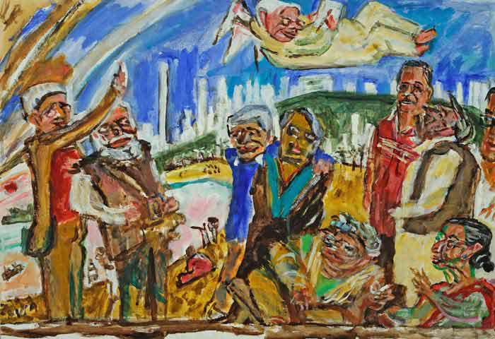 "Timothy Hyman, (study for large painting of Bhupen and friends called  "":Around Bhupen""), 2008, acrylic on board, 46 x 66 cm.   Bhupen looks down from heaven at his friends, Timothy Hyman, Gulammohammed Sheikh, Vivan Sundaram, Geeta Kapur, Meera Mukherjee, Sudhir Patwardan, Amit Ambalal, Nilima Sheikh, Atul Dodiya."