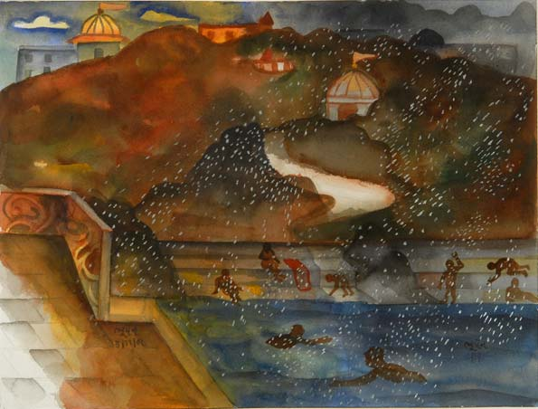 """Silver rain"" (at Haridwar), 2002, watercolor on paper, 31 x 40.5cm"