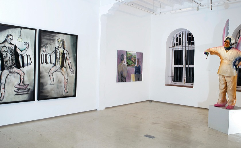 "One room of the ""Touched by Bhupen"" show at Mirchandani-Steinruke Gallery, Mumbai, 2013 with works by Anju Dodiya, Sudhir Padwardan, and Gulammohammed Sheikh"