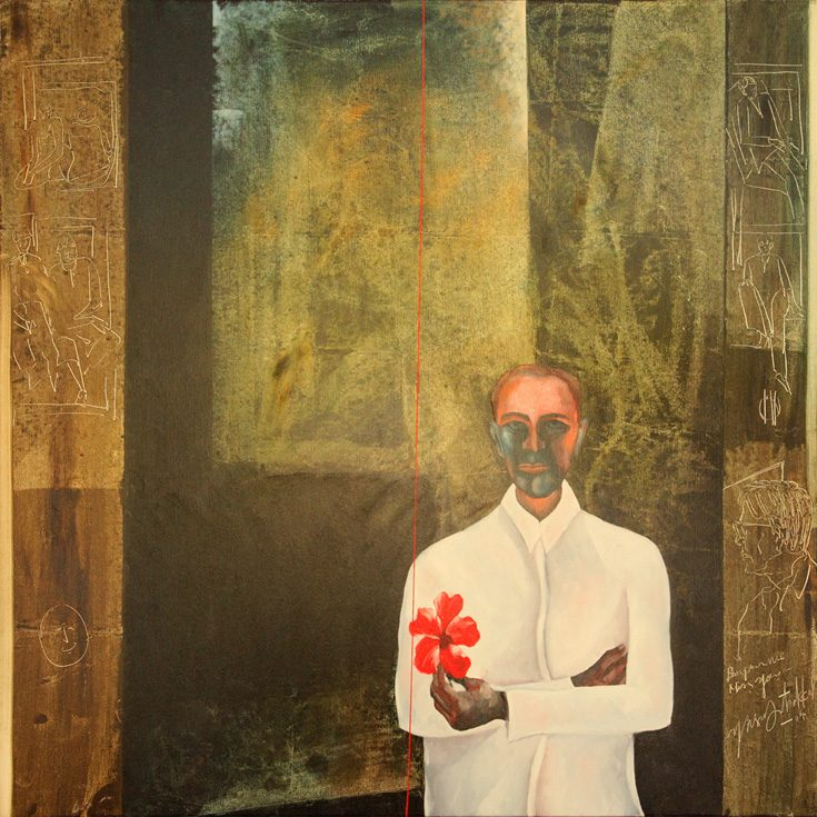 "Yusuf Arakkal, Untitled, [""Bhupen, we miss you,""] oil on canvas, 2004, 120.6 x 120.6 cms.   This work was shown at Tao Gallery's tribute to Bhupen in 2004."