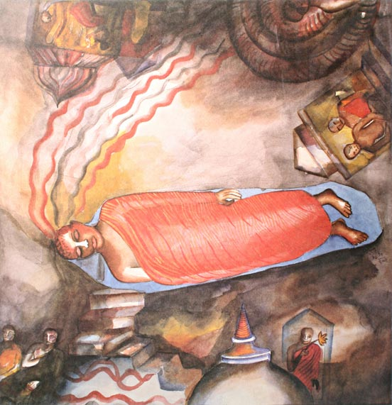 """Dambulla, Sri Lanka,""  printed poster of watercolor, 55.5 x 53.5 sm, 16/200, printed by Sarjan Art Foundation, Vadodara, obverse"