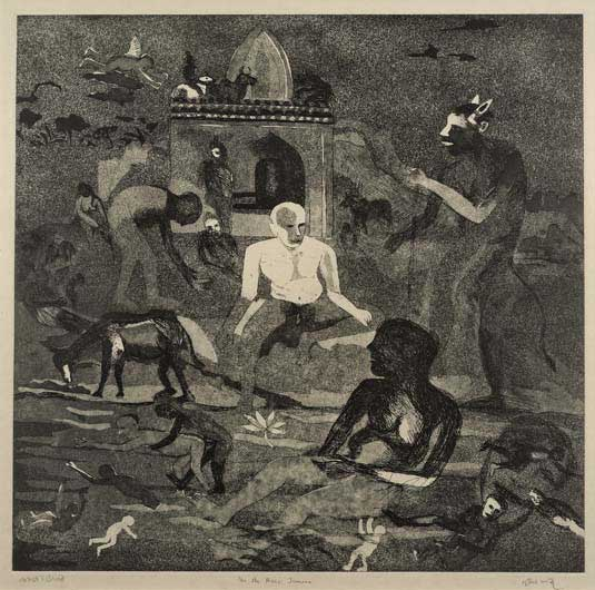 """In the River Jamuna,"" 1993, etching, 51 x 52 cm, Artist Proof"