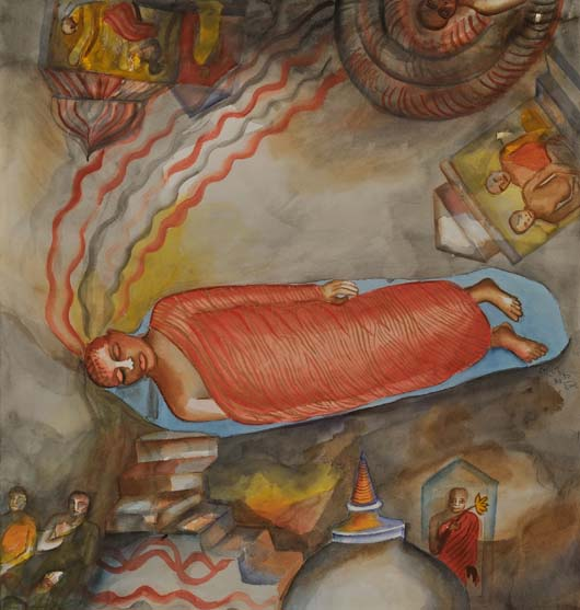 """Dambulla,"" (Sri Lanka) 30/12/2002, watercolor, 77 x 73 cm"