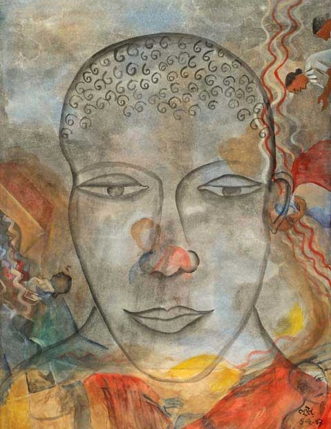 """Gray Buddha,"" 6/02/2003, watercolor, 98 x 67 cm"
