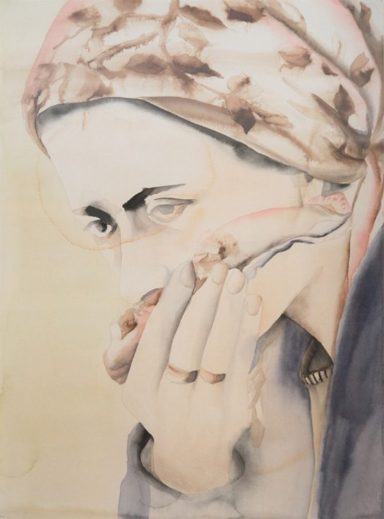 "Anju Dodiya, ""Pale Mourner,"" water color on paper, 2004, 75.5 x 56 cms  Anju sees this work as a tribute to Bhupen.  He supplied her with the water colors and suggested she try them."