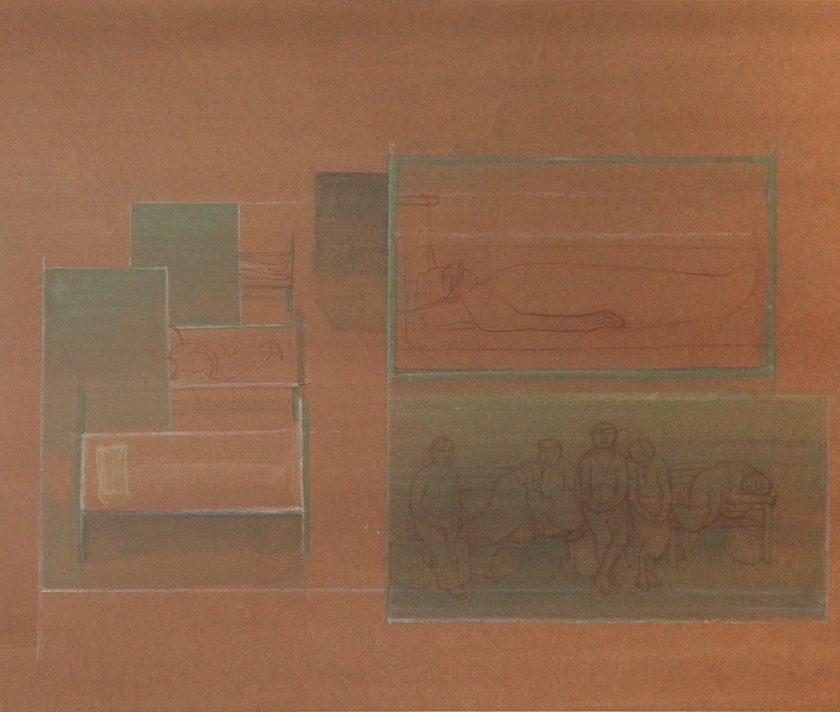 "Nilima Sheikh, ""ICU,"" 2013, tempera on Sangaeri paper, 25.5 x 36 cms"