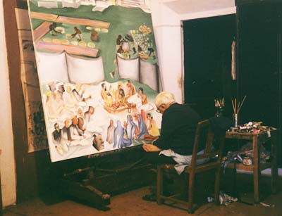 Bhupen Khakhar in his studio