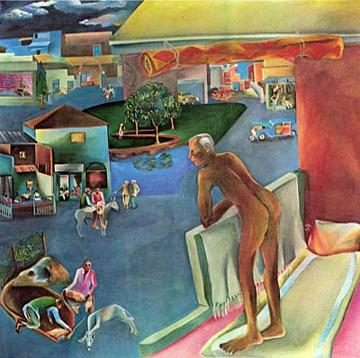 """You Can't Please All"" (1981) by Bhupen Khakhar"